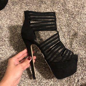 Black suede bebe high heels